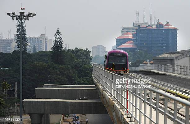 The Bangalore Metro Rail Corporation's Namma metro train start its inagural run in Bangalore on October 20 2011 The first metro in India's IT hub of...