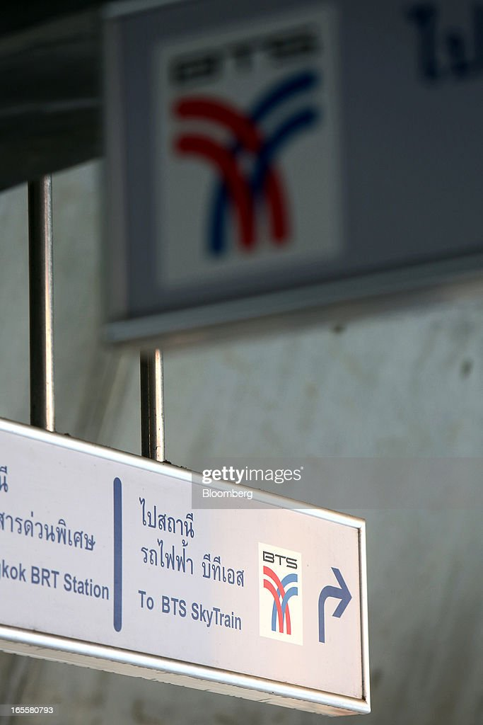 The Bangkok Mass Transit System Pcl logo, a unit of BTS Group Holdings Pcl, is displayed on signage at the SkyTrain Chong Nonsi Station in Bangkok, Thailand, on Thursday, April 4, 2013. The BTS Rail Mass Transit Growth Infrastructure Fund, backed by Bangkok's SkyTrain, raised about 62.5 billion baht ($2.1 billion) in Thailand's biggest initial public offering. Photographer: Dario Pignatelli/Bloomberg via Getty Images