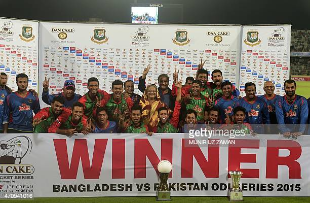 The Bangladesh cricket team pose for a photograph with Bangladesh Prime Minister Sheikh Hasina during the presentation ceremony after the T20 match...