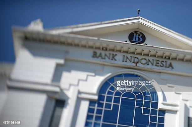 The Bank Indonesia logo is displayed at the central bank's building in this photograph taken with a tiltshift lens in Bandung city West Java...