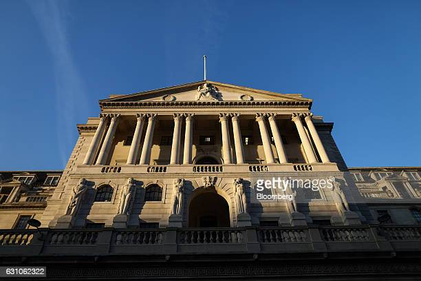 The Bank of England facade stands in the City of London UK on Thursday Jan 5 2017 Bank of England Chief Economist Andy Haldane has put his hand up to...