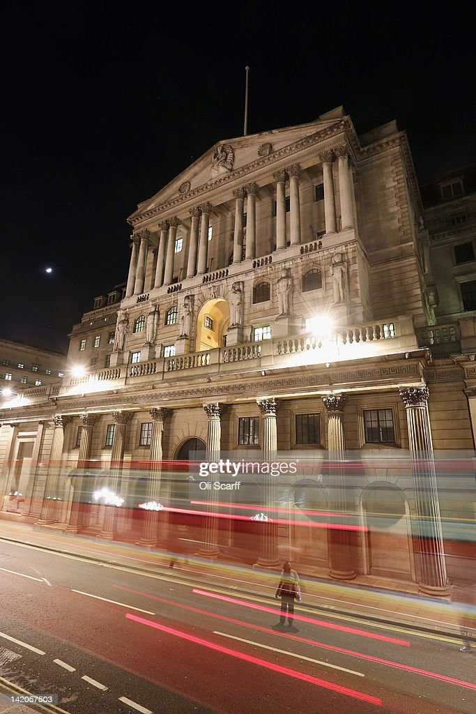 The Bank of England is illuminated at night on March 28, 2012 in London, England.