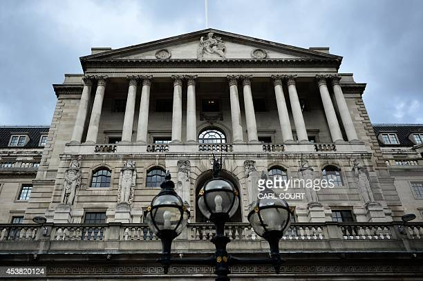 The Bank of England is pictured in the City of London on August 19 2014 Britain's 12month inflation slid to 16 percent in July from 19 percent in...