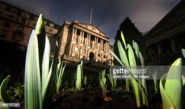 The Bank of England stands amid the first green shoots of spring on the day the bank is expected to make a decision on the level of interest rates