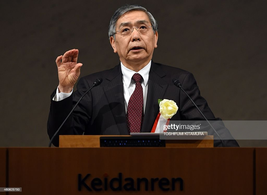The Bank of Japan governor <a gi-track='captionPersonalityLinkClicked' href=/galleries/search?phrase=Haruhiko+Kuroda&family=editorial&specificpeople=649295 ng-click='$event.stopPropagation()'>Haruhiko Kuroda</a> delivers a speech during the Japan Business Federatin (Keidanren) Board of Councillors meeting at its headquarters in Tokyo on December 25, 2014.