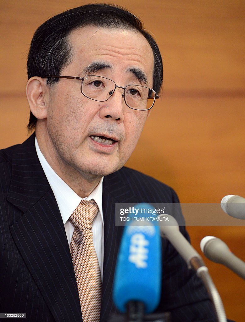 The Bank of Japan (BOJ) governor Masaaki Shirakawa answers a question during a press conference in Tokyo on March 7, 2013. BOJ wrapped up its last policy meeting under governor Shirakawa, making way for a new leadership team that could herald a new era for the central bank. AFP PHOTO / TOSHIFUMI KITAMURA