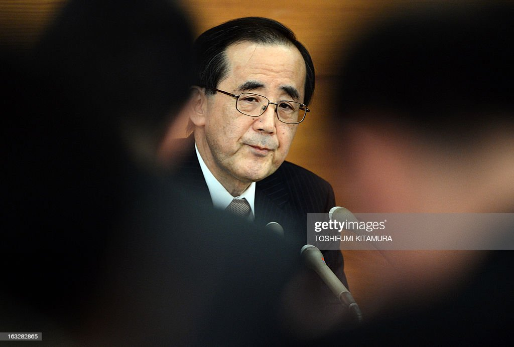 The Bank of Japan (BOJ) governor Masaaki Shirakawa listens to a question during a press conference in Tokyo on March 7, 2013. BOJ wrapped up its last policy meeting under governor Shirakawa, making way for a new leadership team that could herald a new era for the central bank.