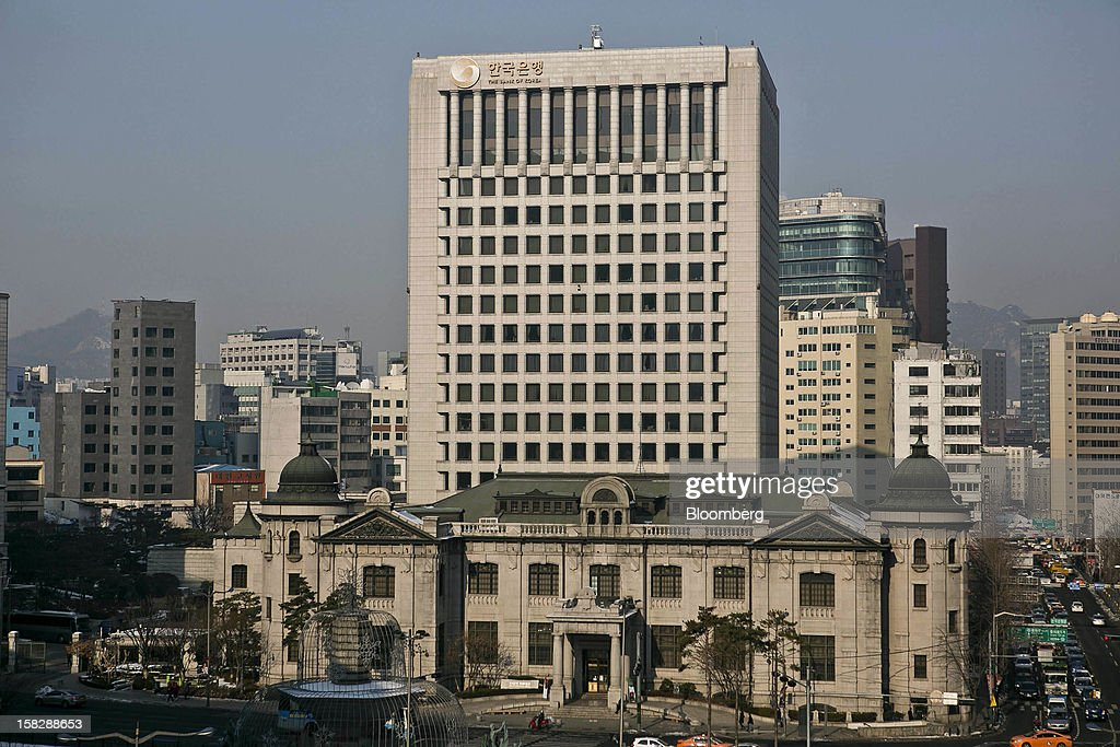 The Bank of Korea headquarters stands in Seoul, South Korea, on Thursday, Dec. 13, 2012. The Bank of Korea held borrowing costs unchanged before next week's presidential election and after North Korea launched a rocket in defiance of international sanctions yesterday. Photographer: Jean Chung/Bloomberg via Getty Images