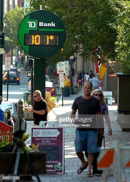 The TD Bank thermometer on Congress Street showed a scorching temperature of 101 late Friday afternoon July 19 as a heat wave settled over Southern...