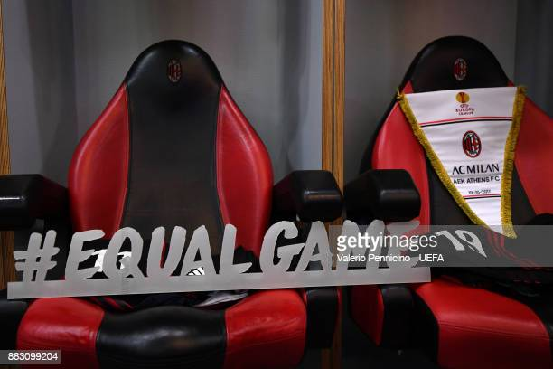 The banner #EQUALGAME is seen in the dressing room of AC Milan ahead the UEFA Europa League group D match between AC Milan and AEK Athens on October...