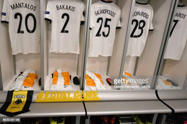 The banner #EQUALGAME is seen in the dressing room of AEK Athens ahead the UEFA Europa League group D match between AC Milan and AEK Athens on...