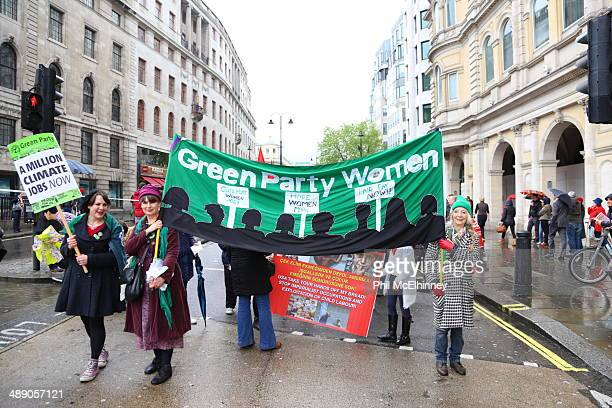 The banner of the Green Party women at the London Mayday march