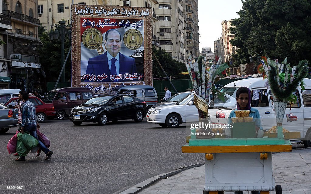 The banners of Abdel Fattah el-Sisi the presidential candidate of Egypt on the streets prior to the elections to be held on 26 and 27 May 2014, Cairo.