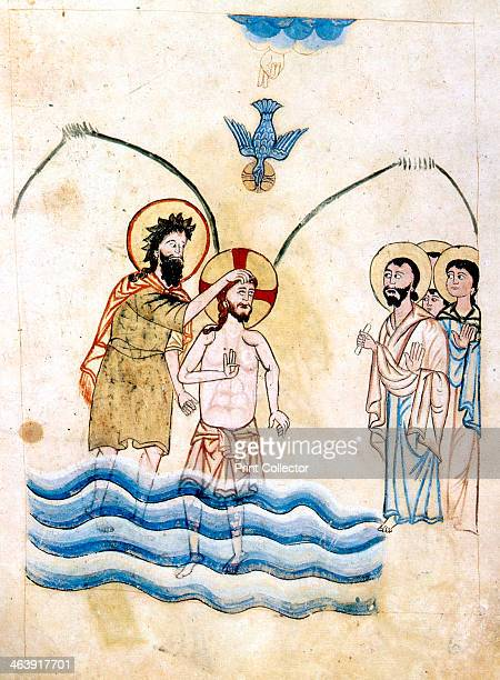 'The Baptism of Jesus by St John the Baptist' c1334 St John and Jesus with his hand lifted in blessing with three fingers raised symbolising the Holy...