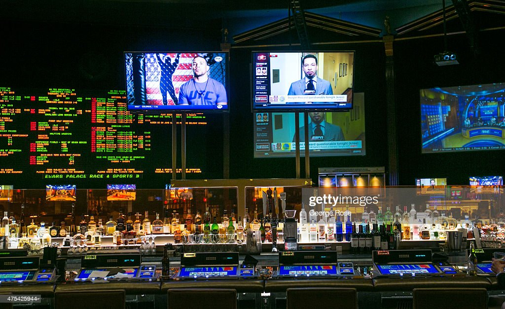 The bar in the sports book at Caesars Palace is viewed on May 19 2015 in Las Vegas Nevada Tourism in America's 'Sin City' has within the past year...