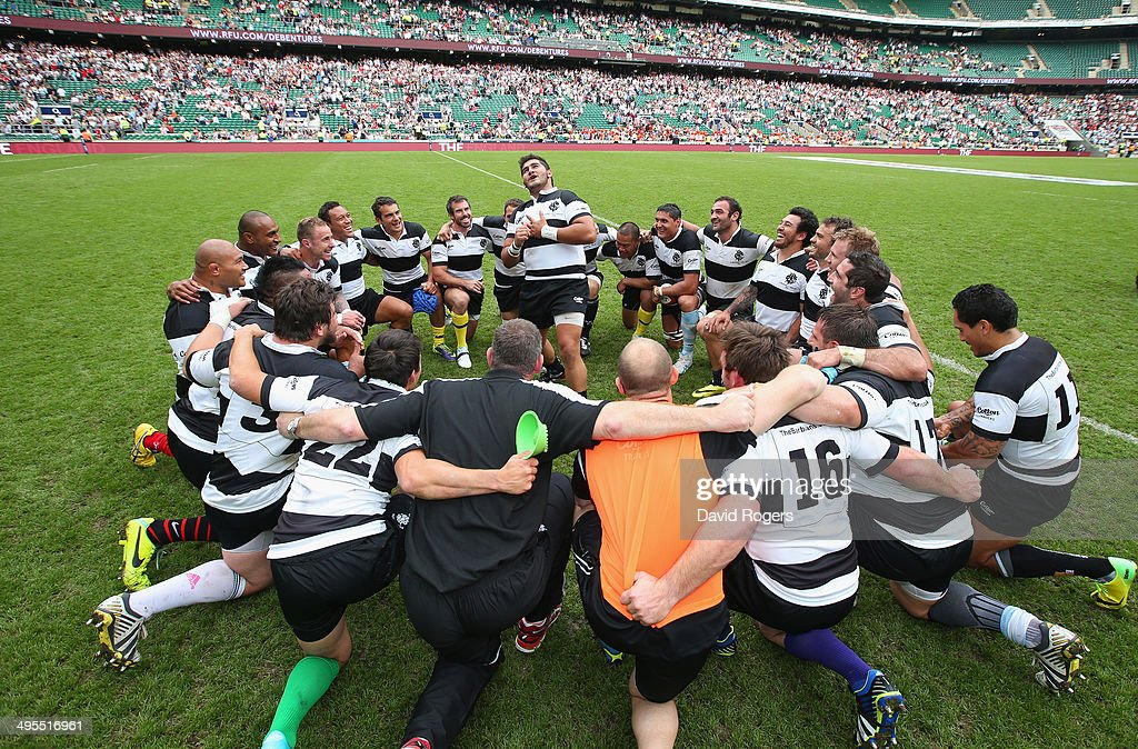 The Barbarians celebrate after victory in the Rugby Union International Match between England and The Barbarians at Twickenham Stadium on June 1, 2014 in London, England.