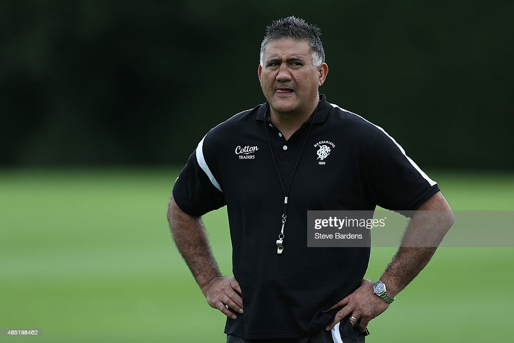 The Barbarians Coach, Jamie Joseph looks on during a Barbarians training session at Latymer Upper School sports ground on August 25, 2015 in London, England.