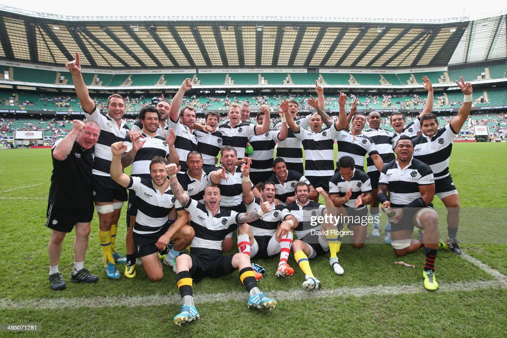 The Barbarians pose for a team photo after victory in the Rugby Union International Match between England and The Barbarians at Twickenham Stadium on June 1, 2014 in London, England.