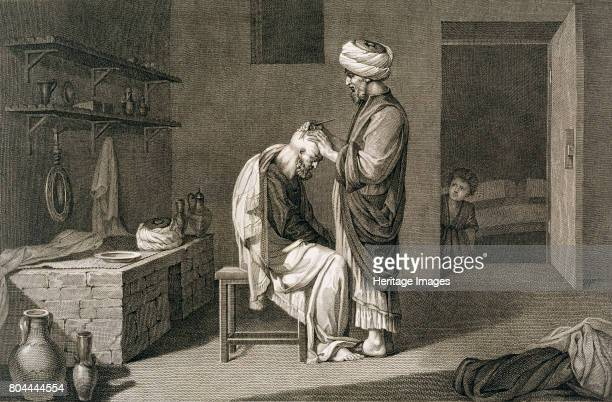 The Barber' 1822 From Volume II Arts and Trades of Description of Egypt published under the orders of Napoleon 1822 Artist Etienne Frederic Lignon