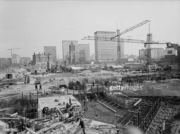 The Barbican Estate in the City of London under construction 12th March 1964 The church of St GileswithoutCripplegate can be seen centre left