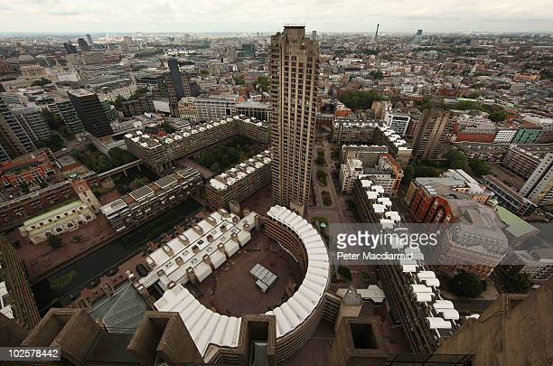 The Barbican Estate viewed from the roof of Cromwell Tower on July 2 2010 in London England Built in the financial area of the City of London...