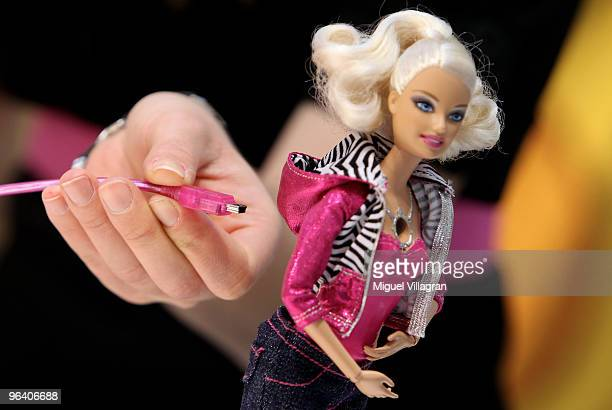 The Barbie video doll is pictured with an USB cable during the International Toy Fair on February 4 2010 in Nuremberg Germany 2700 exhibitors from...