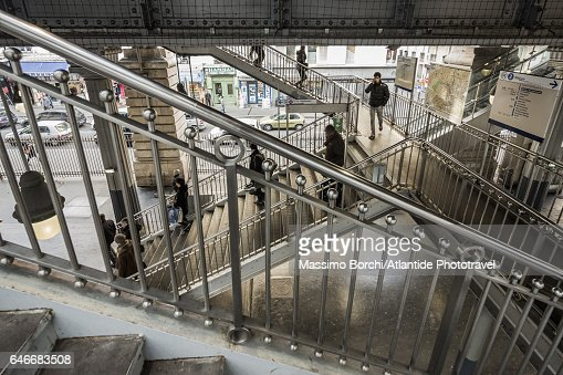 The Barbès-Rochechouart Metro (underground) Station : Stock Photo