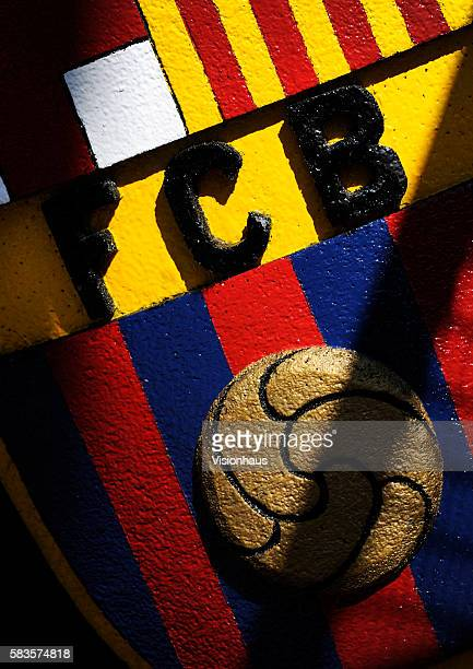 The Barcelona crest outside the Camp Nou before the La Liga Division 1 match between Barcelona and Real Madrid at the Camp Nou in Barcelona Spain...
