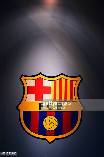The Barcelona logo is lit up in the tunnel ahead of the FIFA Club World Cup Japan 2015 Semi Final match between Barcelona and Guangzhou Evergrande FC...