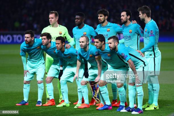 The Barcelona players line up for a team photograph before the UEFA Champions League Round of 16 first leg match between Paris SaintGermain and FC...