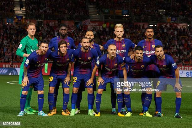 The Barcelona team line up for a photo prior to kick off during the La Liga match between Girona and Barcelona at Municipal de Montilivi Stadium on...