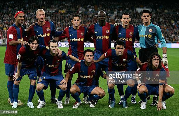 The Barcelona team lineup poses before the Primera Liga match against Real Madrid at the Santiago Bernabeu stadium October 22 2006 in Madrid Spain