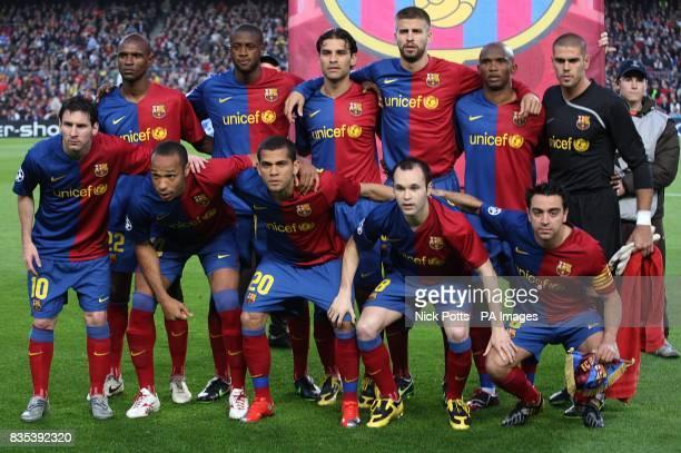 The Barcelona team Lionel Messi Thierry Henry Daniel Alves Andrs Iniesta Xavi Eric AbidalGnegneri Yaya Toure Rafael Marquez Gerard Pique Samuel Eto'o...