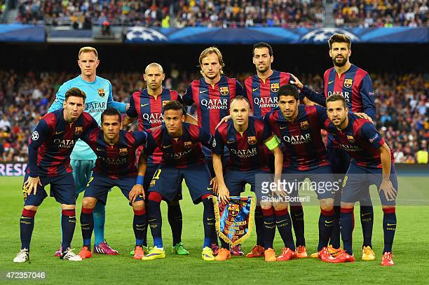 The Barcelona team pose for the vcameras prior to kickoff during the UEFA Champions League Semi Final first leg match between FC Barcelona and FC...