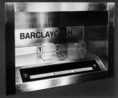 The 'Barclaycash' cash dispenser Britain's first 24hour cash dispenser installed at the Enfield branch of Barclays Bank in north London