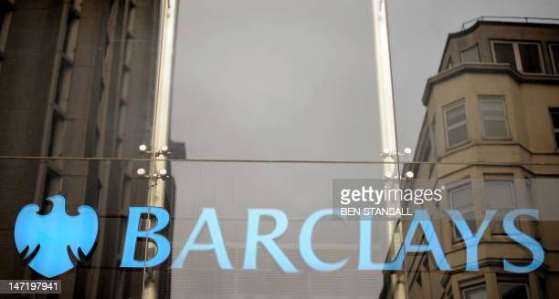 The Barclays bank logo is pictured in central London on January 26 2011 British bank Barclays announced Wednesday that it plans to axe around 1000...