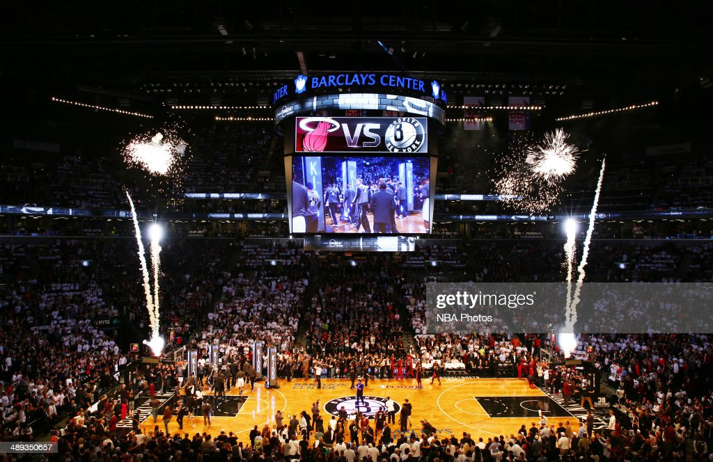 The Barclays Center before the game between the Miami Heat and Brooklyn Nets during Game Three of the Eastern Conference Semifinals on May 10, 2014 at Barclays Center in Brooklyn.