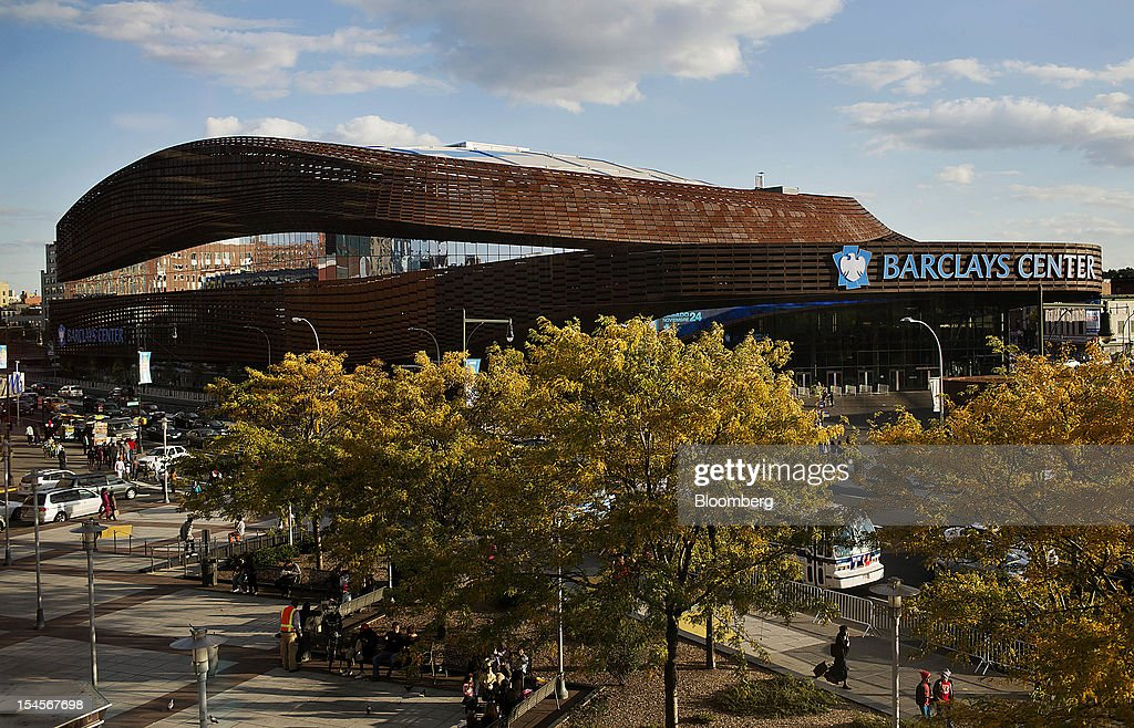 The Barclays Center stands in the Brooklyn borough of New York, U.S., on Sunday, Oct. 21, 2012. The Barclays Center, the 675,000-square-foot arena designed by SHoP Architects PC of Manhattan, opened on Sept. 28 with eight sold-out shows by rapper Jay-Z. Photographer: Victor J. Blue/Bloomberg via Getty Images