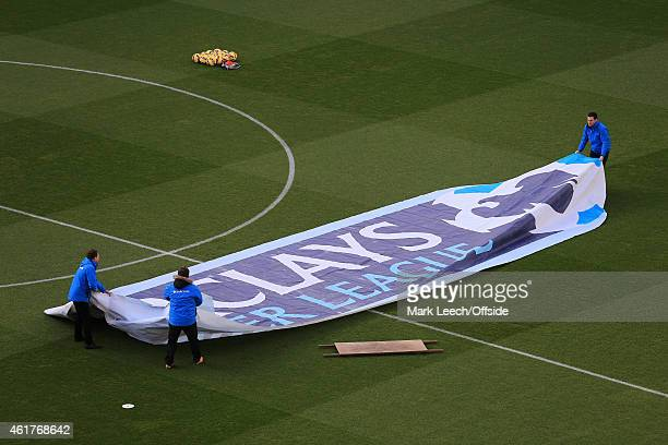 The Barclays pitch logo banner is unfurled before the Barclays Premier League match between Aston Villa and Liverpool at Villa Park on January 17...