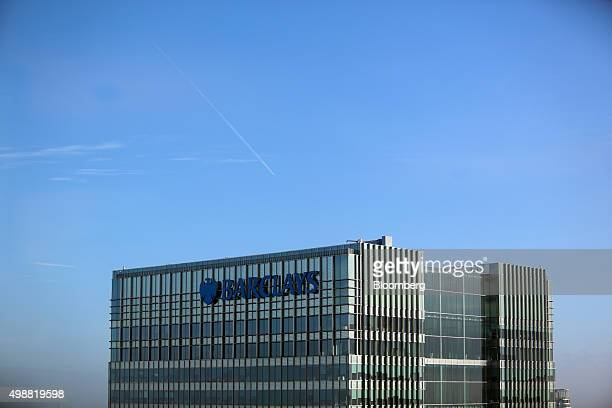 The Barclays Plc headquarters stands seen from the Crossrail offices in the Canary Wharf business financial and shopping district of London UK on...