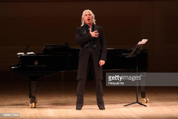 The baritone Dmitri Hvorostovsky accompanied by Ivari Ilja on piano performed the songs by Rachmaninoff and Georgy Sviridov at Carnegie Hall on...