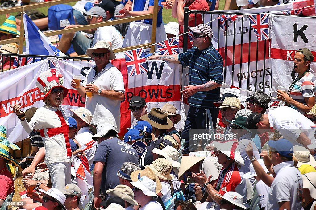 The Barmy Army chant during day two of the Third Ashes Test Match between Australia and England at the WACA on December 14, 2013 in Perth, Australia.