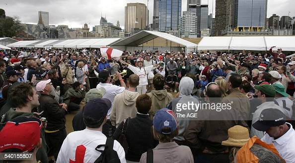 The Barmy Army Christmas dinner at Birrarung Marr was well attended in spite foul weather THE AGE NEWS Photo by MICHAEL CLAYTONJONES