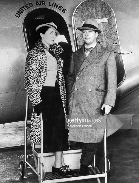 The Baron Philip H Rothschild And His Wife The French Designer Elsa Schiaparelli Boarding A Place At Newark Airport For San Francisco On July 5 1935