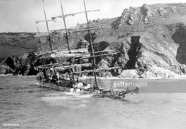 The barque Herzogin Cecile with decks awash in her watery grave near Salcombe after she was wrecked at Bolt Head May 1936