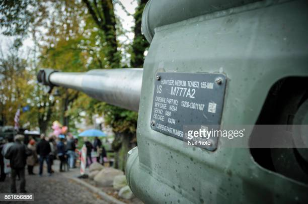 The barrel of a Howitzer gun is seen on the NATO day in Bydgoszcz Poland on October 14 2017