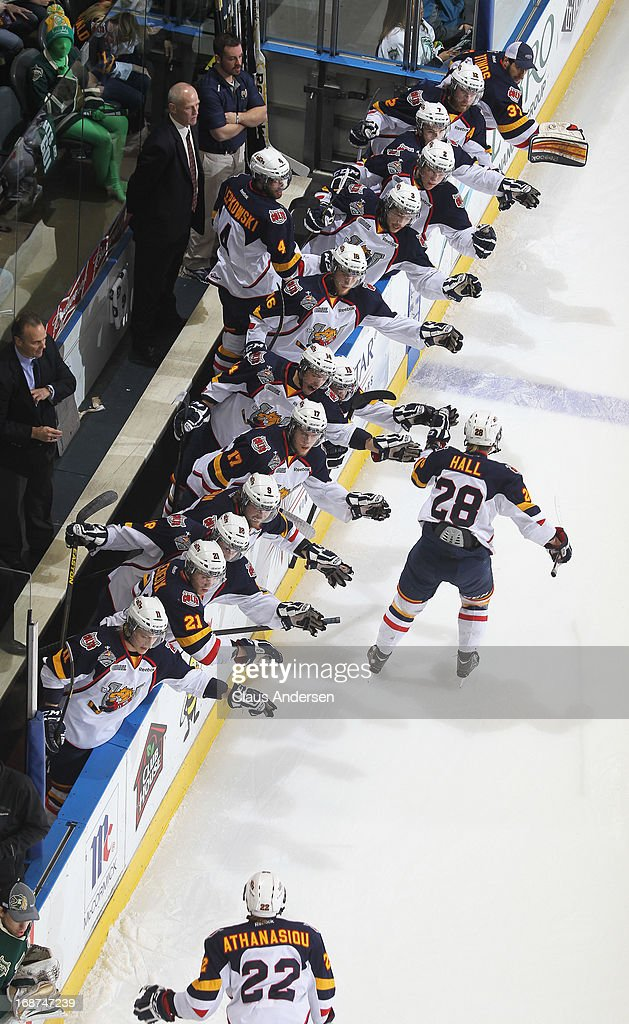 The Barrie Colts celebrate a goal by Zach Hall #28 against the London Knights in Game Seven in the 2013 OHL Championship Final on May 13, 2013 at the Budweiser Gardens in London, Ontario, Canada. The Knights defeated the Colts 3-2.
