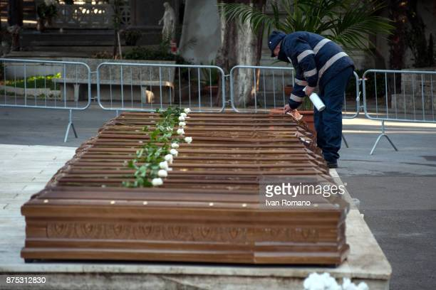 The bars of the migrant women in the Monumental Cemetery of Salerno prepared by a municipal worker on November 17 2017 in Salerno Italy A funeral was...