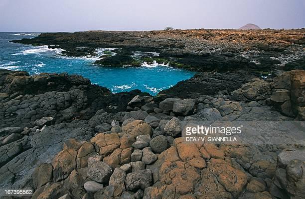 The basalt coast near Palmeira island of Sal Barlavento Islands Cape Verde