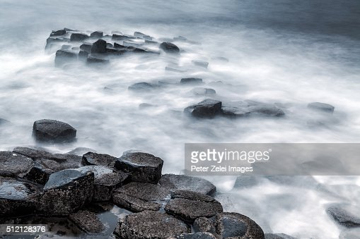The basalt rock formations of Giant's Causeway in County Antrim, Northern Ireland